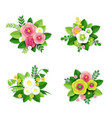 floral composition set isolated vector image