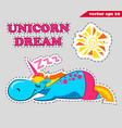funny cartoon unicorn slepping and tanning vector image vector image