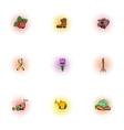 Garden icons set pop-art style vector image vector image