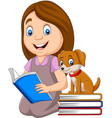 girl reading book with cute little dog vector image vector image