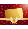 gold christmas bow and label landscape vector image vector image