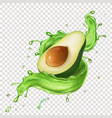 green avocado fruit juice splash realistic vector image