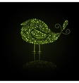 Green Bird Silhouette Composed from Go Green Eco vector image