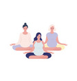 group relaxing pregnant woman meditating in vector image