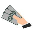 hand holds money banknotes cash flat vector image