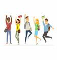 happy jumping senior school students - cartoon vector image vector image