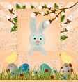 layout in greeting easter card with painted eggs vector image