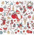 merry christmas hand drawn doodle seamless pattern vector image vector image