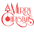 merry christmas text art red color use vector image