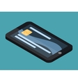 Mobile banking isometric smartphone and card vector image vector image