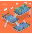 Mobile shopping flat isometric concept vector image vector image
