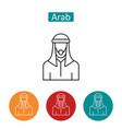 muslim man wearing keffiyeh outline icons set