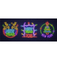 Neon logo label new year and merry christmas