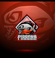 piranha esport mascot logo design vector image