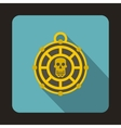 Piratical medallion with skull icon flat style vector image