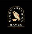 raven crow geometric polygonal bird badge logo vector image