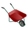 red wheelbarrow icon isometric style vector image