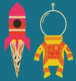 Rocket with astronaut costume vector image vector image