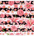 rose and lily seamless pattern card vector image vector image