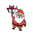 santa claus with suit christmas and present gift vector image vector image