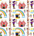Seamless background design with jester and monkeys vector image vector image