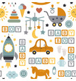 seamless pattern with ba icons for boy vector image