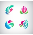 set of abstract floral icons vector image vector image