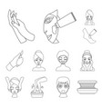 skin care outline icons in set collection for vector image