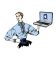Social media retro woman with laptop vector image