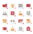 stylized hotel amenities services icons vector image