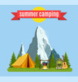 summer camp landscape with yellow tent vector image vector image