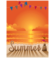 Summer Text made from Sand on the Beach at Sunset vector image