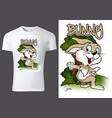 t-shirt design with cartoon bunny vector image vector image