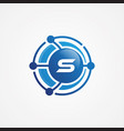technology design orbit with letter s symbol vector image vector image