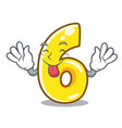 tongue out number six isolated on the mascot vector image vector image