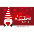 valentine day greeting card cartoon cute gnome vector image vector image