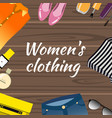 woman accessories on wooden flat design vector image vector image