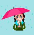 woman with flu in the rain vector image vector image