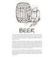 wood ale firkin and beer mug with crawfish poster vector image vector image