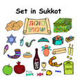 a set of graphic color elements on the sukkot vector image vector image