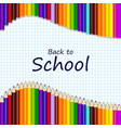 back to school greeting card with colorful pencils vector image vector image