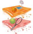 basketball field and tennis field vector image vector image