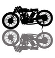 black silhouette a vintage race motorcycle vector image