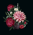 Bouquets with dahlia peonies and wild flowers