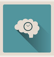 brain thinking about time on blue background with vector image vector image