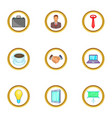 business work icons set cartoon style vector image vector image