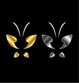 Butterfly logo in gold and silver colors vector image vector image
