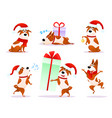 christmas cartoon dog emoticons xmas puppy emoji vector image