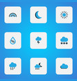 climate icons colored set with snow drizzle moon vector image vector image