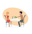 couple in love in romantic atmosphere at dinner vector image vector image